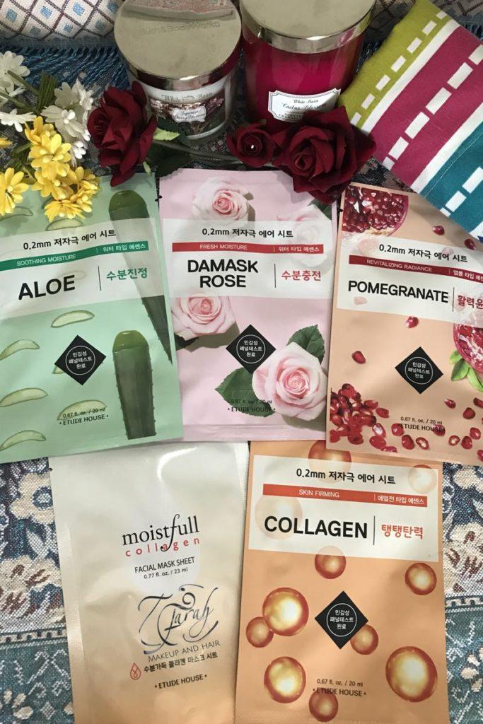 Moistfull Collagen, Skin Firming Collagen, Aloe Vera Soothing Moisture, Damask Rose Fresh Moisture, Pomegranate Revitalizing Radiance Etude House Sheet Mask Dubai